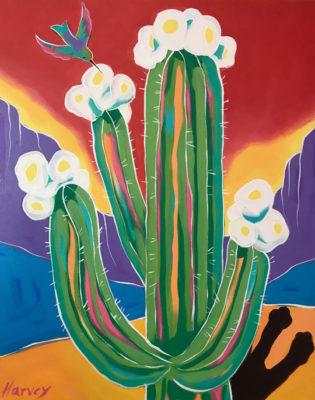 "Kristin Harvey Saguaro Blooms 30"" x 24"""