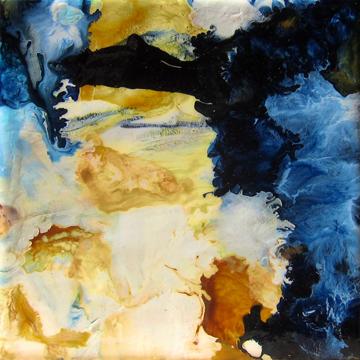 """Peacock Moon II Christina Ramirez 5"""" x 5"""""""