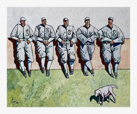 "The Baseball Men with Dog by Thom Ross, 44.5"" x 54"", acrylic on canvas, $10,500"