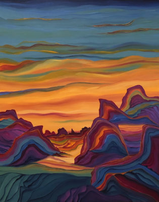"Skies of Gold</em>Judy Choate<br />60"" x 48""  by"