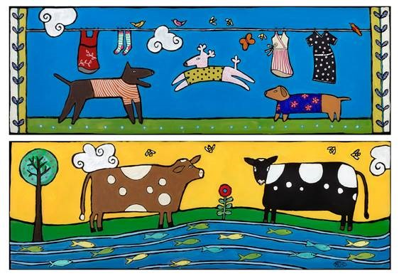 "Dogs and Cows</em>Melinda D. Curtin<br />24"" x 32""<br />$825 by"